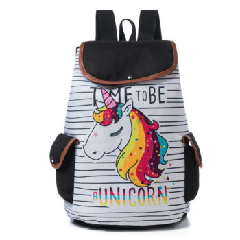 Cartoon Unicorn Canvas Backpack