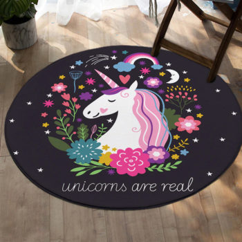 Rainbow Unicorn Round Rug