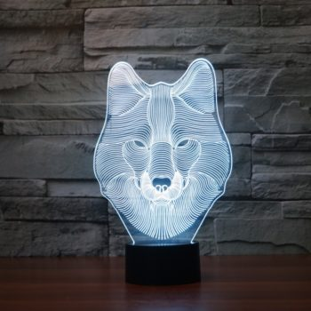 3D LED Wolf Face Night Light
