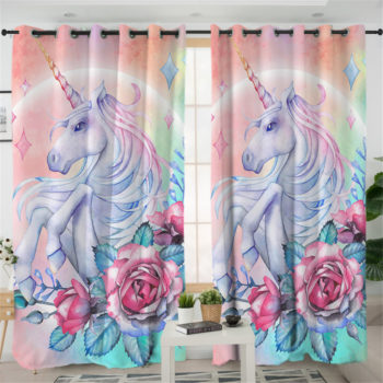 Unicorn and Rose Curtain for Living Room
