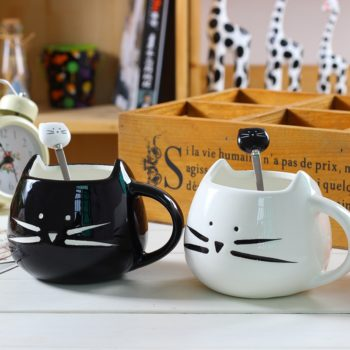 Ceramic Cute Cat Mug With Spoon