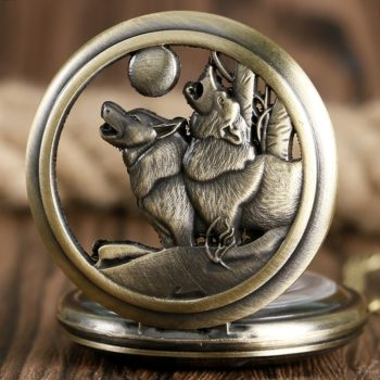 Howling Wolf Dog Pocket Watch
