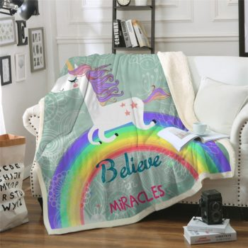 Unicorn Believe in Miracles Sherpa Blanket