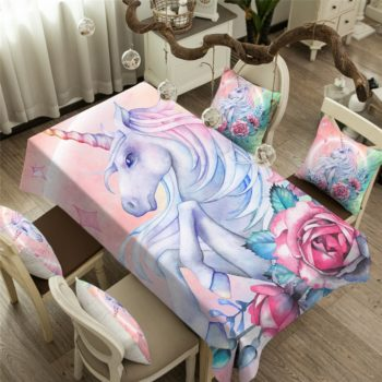 Unicorn and Rose Waterproof Tablecloth