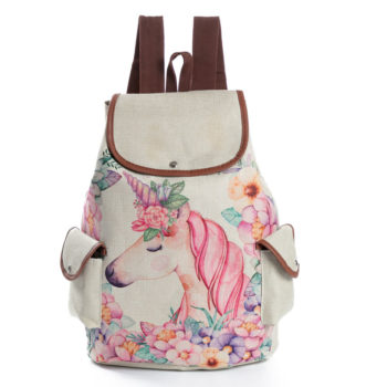 Cute Flower Unicorn Canvas Backpack