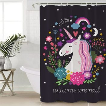 Pink and Black Unicorn Shower Curtain