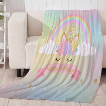 Rainbow Unicorn Throw Blanket
