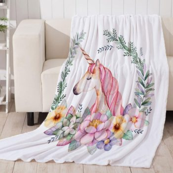 Pink Unicorn Throw Blanket