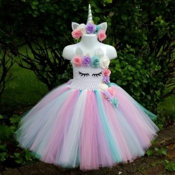 Girls Flower Unicorn Tutu Dress