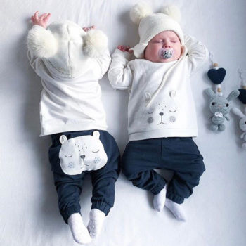 White Bear Long sleeve and Pants for Babies