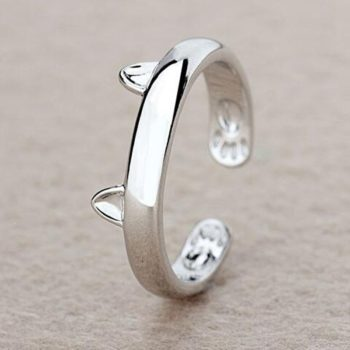 Silver Plated Cat Ring