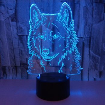 3D Wolf LED Night Light