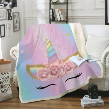 Golden Pink Rainbow Unicorn Throw Blanket