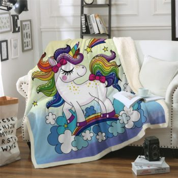 Rainbow Unicorn Microfiber Bed Blanket