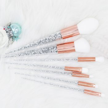 Sliver and Gold Glitter Unicorn Makeup Brushes Set