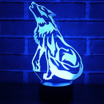 3D LED Night Light Wolf Howling