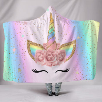 Rainbow Flower Unicorn Hooded Blanket